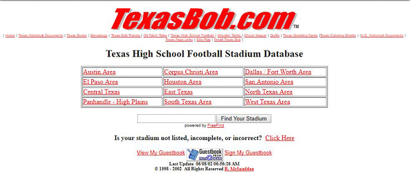 TexasBob.com Stadium Database 2002