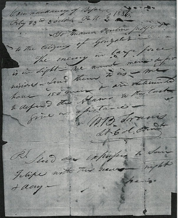 Travis Letter from the Alamo