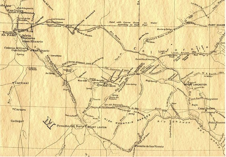 1857 Pecos River / West Texas Map